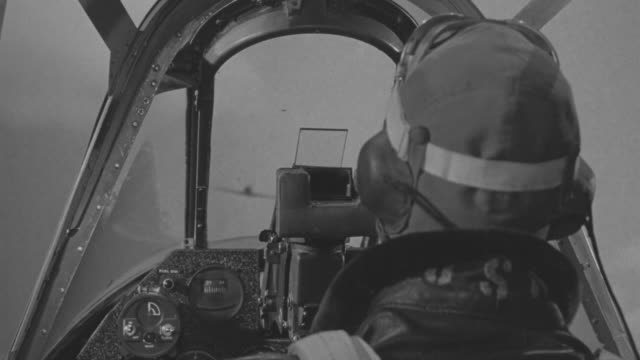 CU POV GI Pilot shooting down to Japanese fighter planes