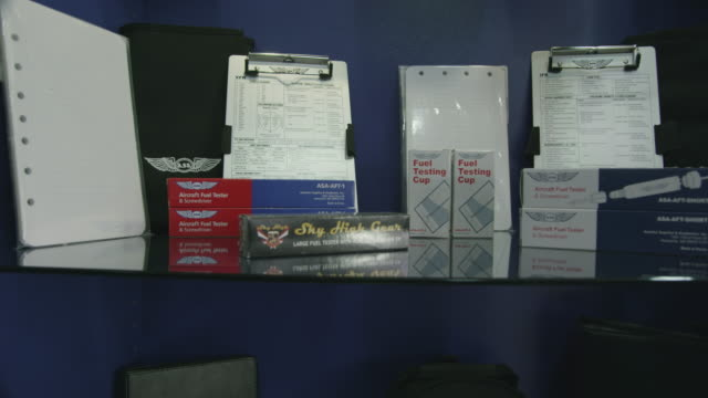 PAN pilot shop supplies, kneeboard, fuel tester, etc