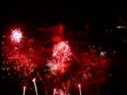 Pink and white fireworks light up night sky Avignon Wine Festival