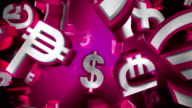 Pink Version, Loopable World Currency Symbols Flying By