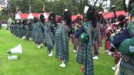 MS POV Pipe band performing at braemar royal highland games / Braemar, Aberdeenshire, Scotland