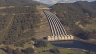 WS AERIAL Pipelines of hydro electricity scheme / Kings Cliff, New South Wales, Australia