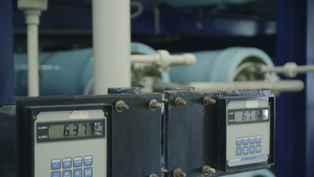TU piping, control units and filters in water treatment plant, RED R3D 4K