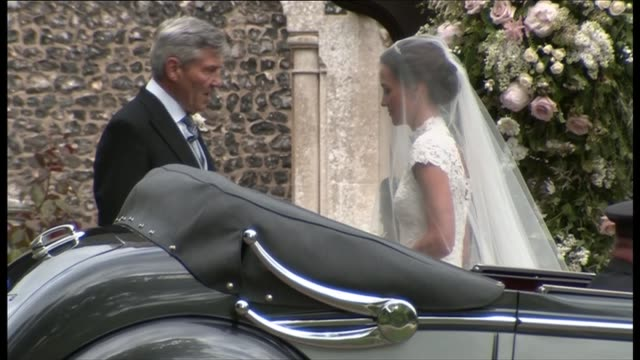 arrivals ENGLAND Berkshire Englefield St Mark's Church EXT Catherine Duchess of Cambridge arrival at church by car with bridesmaid and pageboys page...