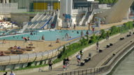 Pisceine de Rhone,Swimming pool next to Rhone River,cyclists.ZO