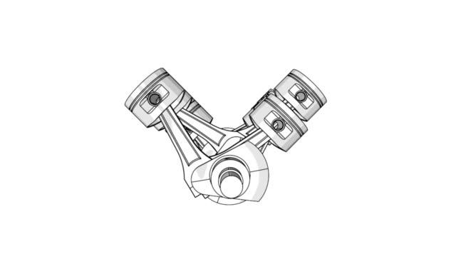 Zwölf Zylinder Motorkolben und Kurbel animation Gitternetzlinien video