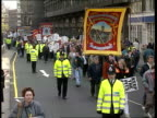 Pit closures Demo and Commons vote ENGLAND London Miners demo towards with banners MS Ditto LACMS Band as playing SOF and towards MS NUM Pres Arthur...