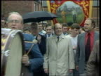 Opposition Durham MS Neil Kinnock towards at front of Horden Colliery miners march TX