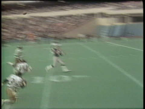 1984 SLO MO WS PAN Pittsburgh Maulers receiver dropping touchdown pass during game against Denver Gold / Pittsburgh, Pennsylvania, USA