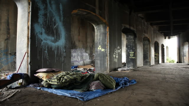 Place where the homeless live with their personal property