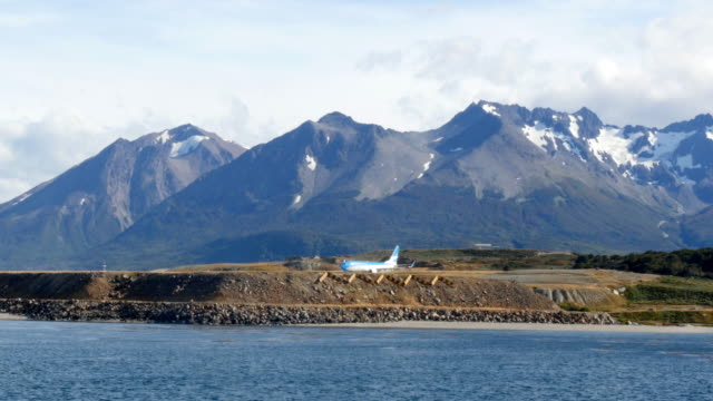 A plane about to take of at Ushuaia Airport.