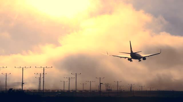 Plane landing at LAX airport