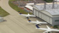 MS AERIAL ZO Planes in yard at Hanger of Lufthansa Technik / Germany