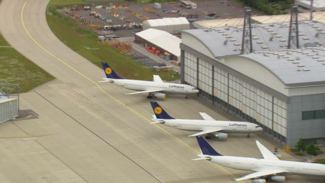 MS AERIAL ZO Planes in yard at Hanger of Lufthansa Technik / Germany