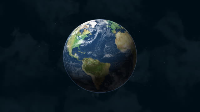 Planet Earth in Space - Slow Zoom, With Starry Background