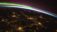 Planet Earth with city lights at night seen from the ISS (International Space Station)