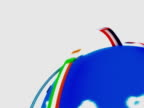 Planet earth world with ribbon flags animation