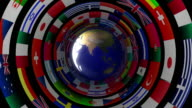 Planet eath with concentric flag rings