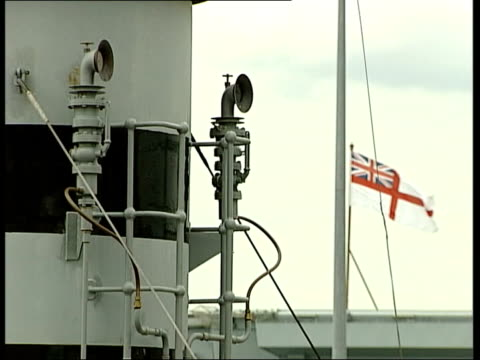 Portsmouth EXT Flags flying from mast of M33 PULL OUT HMS Victory in b/g Ship on which electrolysis has been carried out Corroded section of ship...