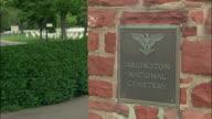 CU plaque on wall at entrance to Arlington National Cemetery, Washington, DC, USA