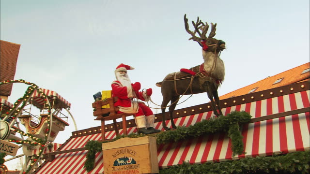 Ws Plastic Santa And Reindeer Decoration On Rooftop ...
