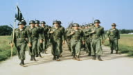 MS Platoon of recruits marching in formation / Fort Leonard Wood Missouri United States