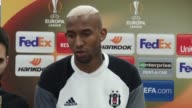 Player Anderson Talisca of Besiktas speaks during a press conference following the UEFA Europa League quarterfinal second match between Besiktas and...