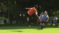 WS PAN SLO MO Player scoring goal on field / Provo, Utah, USA