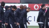 Players of Besiktas attend a training session ahead of UEFA Europa League Round of 32 match between Besiktas and Hapoel BeerSheva at Nevzat Demir...