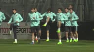 Players of Turkish National Football Team attend a training session ahead of the 2018 FIFA World Cup European Qualifying football match between...