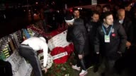 Players Tolga Zengin and Olcay Sahin of Besiktas soccer team place wreaths on the Martyrs Hill where the Istanbul terror attack took place in the...