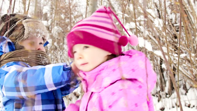 Playful winter kids