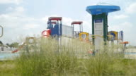 Playground grass slide shot.