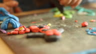 playing with plasticine