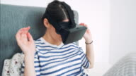 Playing with virtual reality headset.
