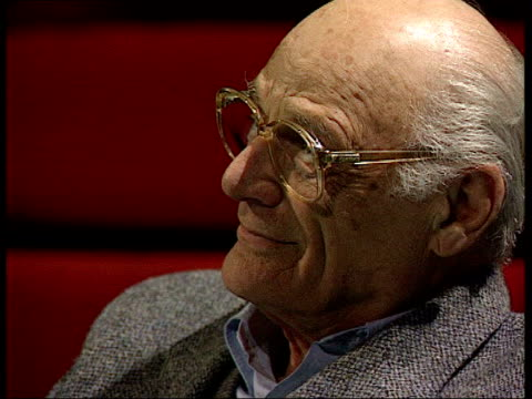 Playwright and author Arthur Miller dies LIB London Miller onstage with beds in b/g Miller watching actors Arthur Miller interview SOT Hope to keep...
