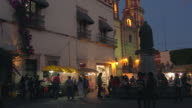 Plaza at dusk in Queretaro, Mexico