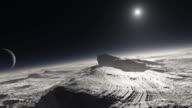 Pluto. Animation of the surface of the dwarf planet Pluto, with patches of methane on the surface, and its moon Charon and the distant Sun seen in its sky.