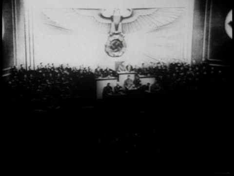 Podium from distance / Nazi eagle / Hitler speaking