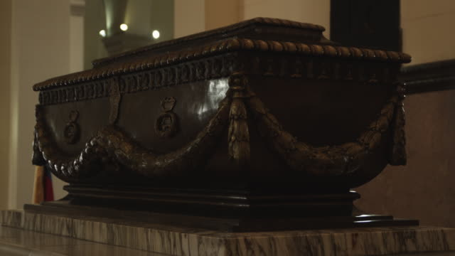 A podium holds Bolivar´s tomb at the National Pantheon in Venezuela.