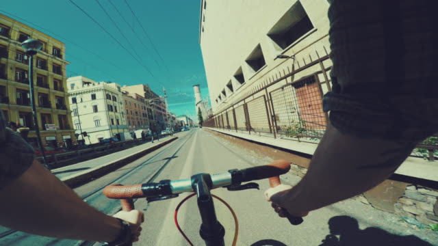 Point of view POV bicycle in urban street contest