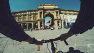 Point of view POV bicycle: urban street of Firenze