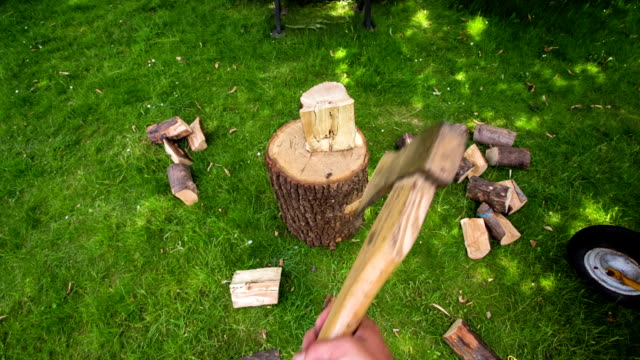 Point of view chopping wood