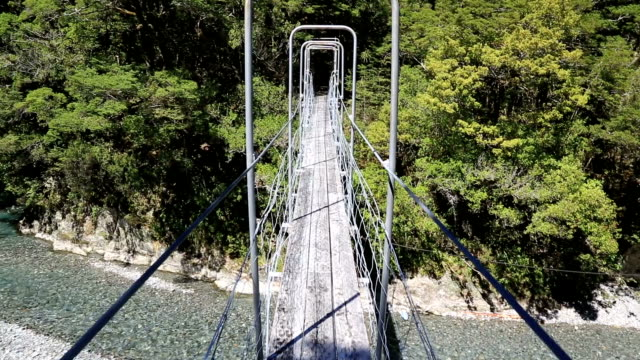 Point Of View Crossing a Suspension Bridge in New Zealand