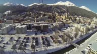 Point of view from camera fixed to cable car as ascends Jakobshorn Mountain overlooking Davos ski resort in the build up to the 2013 World Economic...