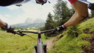 Point of view POV mountainbike fast ride downhill