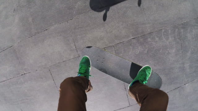 Point of View of a Skater performing a flip at MACBA Barcelona