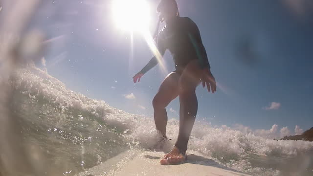 Point of View (POV) of a young woman surfing at Byron Bay