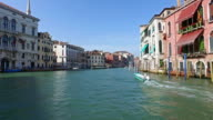 Point of view of boat along the Grand Canal in Venice, Italy