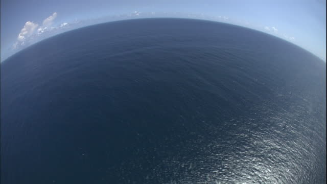 Point of view of sea and horizon, from airplane flying over Puerto Rican coast